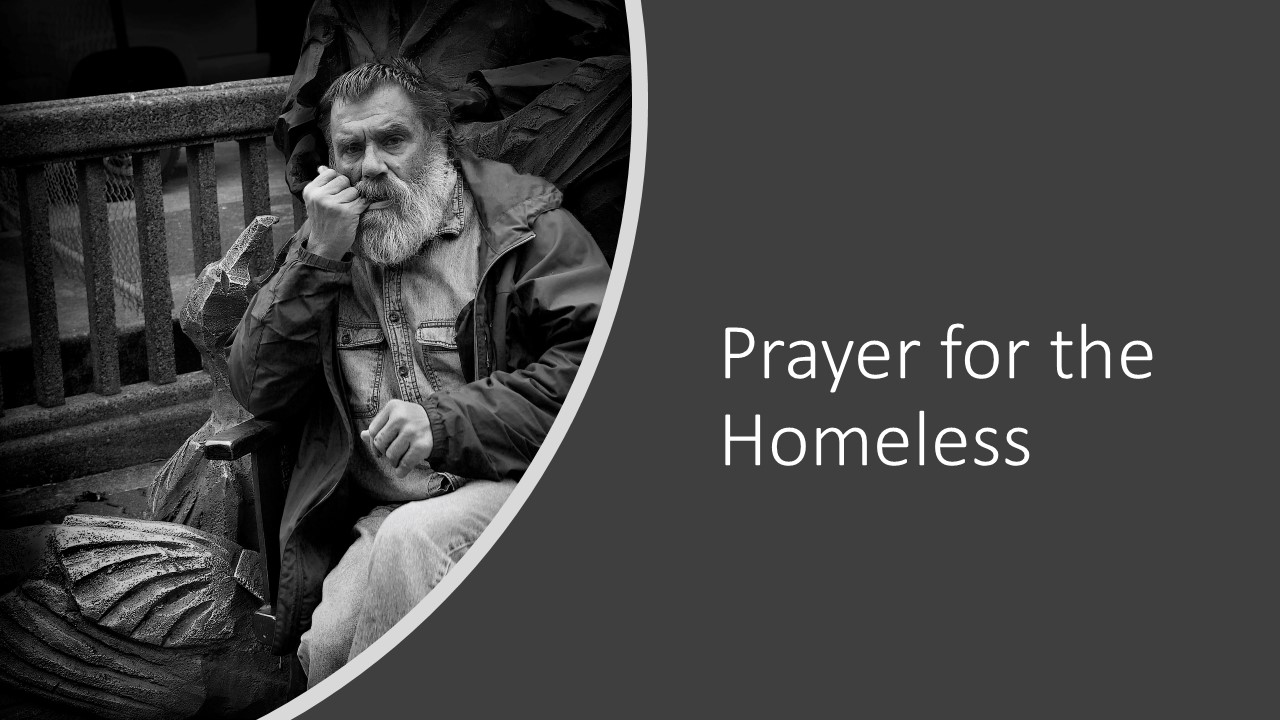 Man with a beard sitting on a bench | pray for the homeless